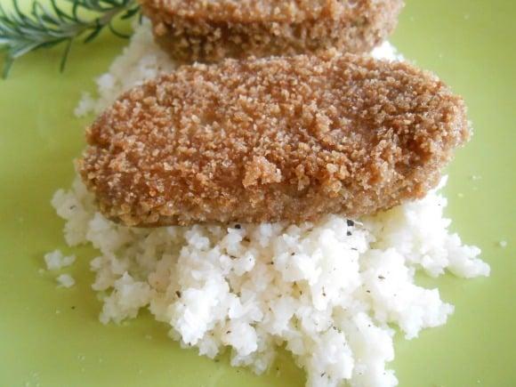 seitan milanesa y cuscus coliflor