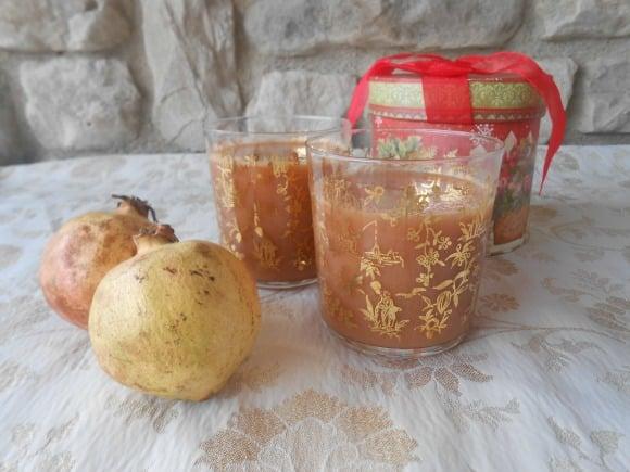zumo granada, manzana y naranja