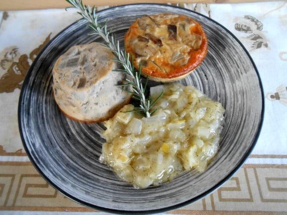 Receta de mini-pudings de cardo y shiitake con salsa al cava