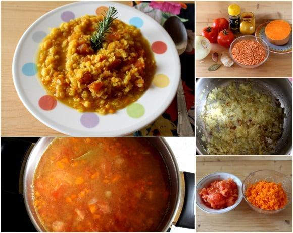 Receta de lentejas rojas con calabaza y tomate